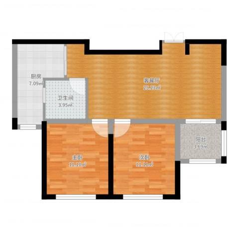大丰区香堤雅郡小区2室2厅1卫1厨78.00㎡户型图