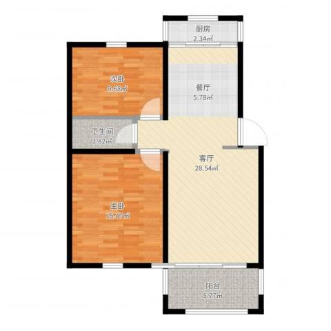 香榭水岸2室1厅1卫1厨81.00㎡户型图