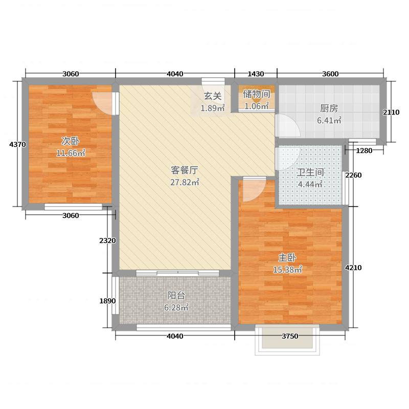 华嬉庄园89.30㎡Bb户型2室2厅1卫1厨
