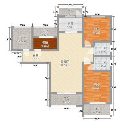 乾基九境城3室2厅2卫1厨114.00㎡户型图