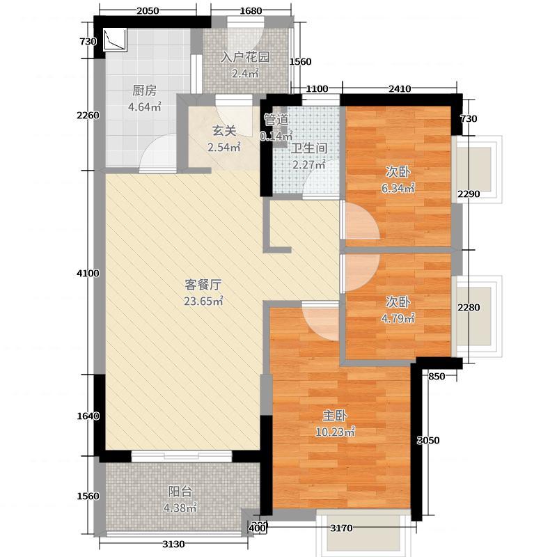 佛山时代廊桥85.00㎡1座1单元户型3室3厅1卫1厨