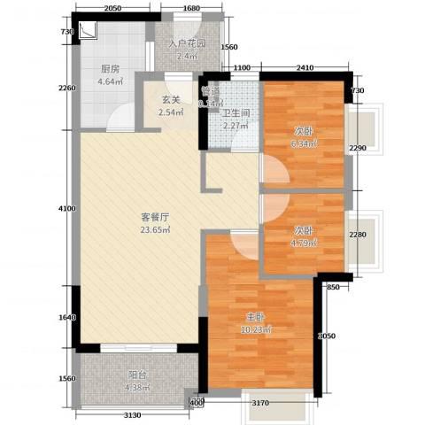 佛山时代廊桥3室2厅1卫1厨85.00㎡户型图