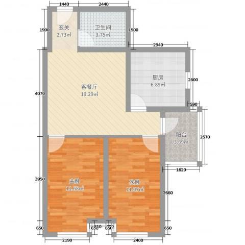 双威理想城二期2室2厅1卫1厨58.00㎡户型图