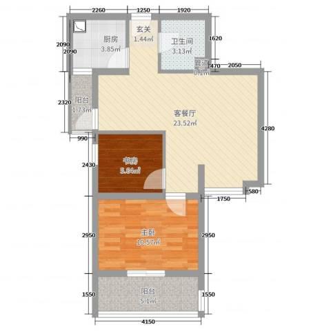 双威理想城二期2室2厅1卫1厨75.00㎡户型图