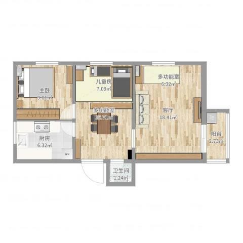 学院南路72号院1室1厅1卫1厨67.00㎡户型图