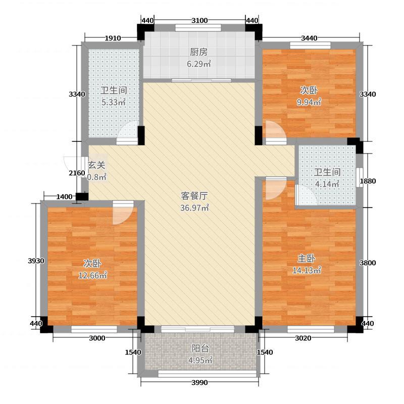 天一仁和印象118.00㎡D户型3室3厅2卫1厨