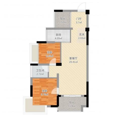 信德翡翠湾2室2厅1卫1厨77.00㎡户型图