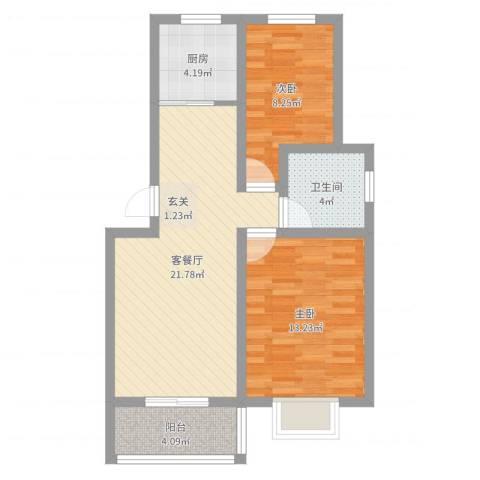 祥和至尊2室2厅1卫1厨69.00㎡户型图