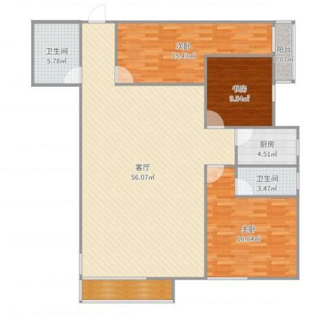 欧陆经典18号楼5013室1厅2卫1厨147.00㎡户型图