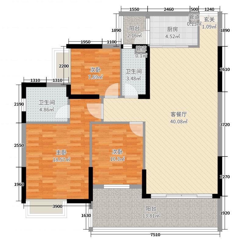 新幸福领汇家园130.76㎡10座03单元户型3室3厅2卫1厨