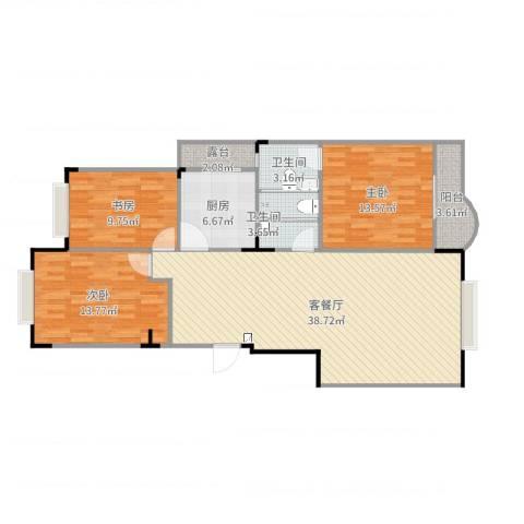 汉阳缤纷四季3室2厅2卫1厨119.00㎡户型图