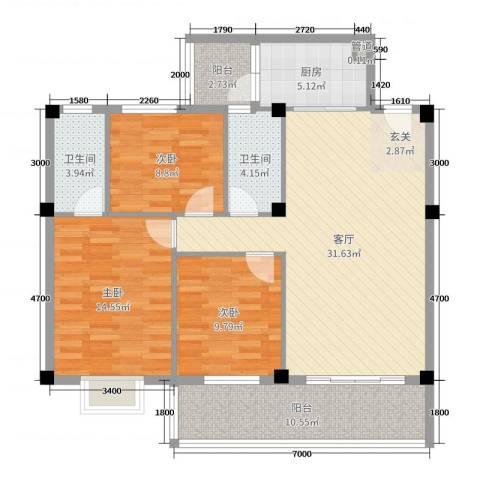 幸福家园二期3室1厅2卫1厨110.00㎡户型图