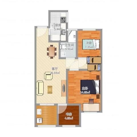 常发御龙山住宅3室1厅1卫1厨85.00㎡户型图