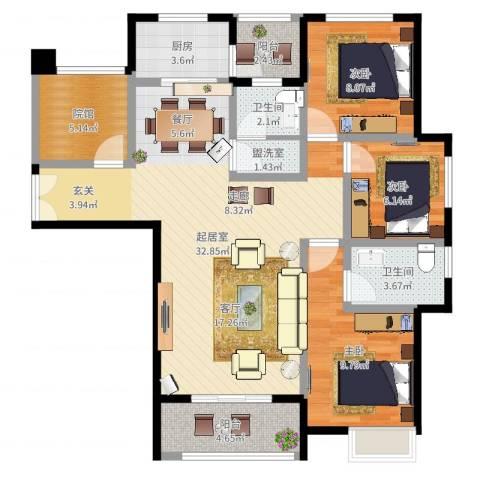 旭阳台北城敦美里3室2厅3卫1厨100.00㎡户型图
