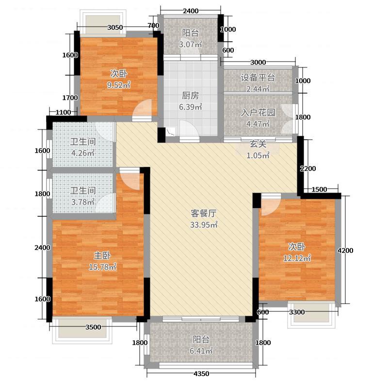 桂林国奥城123.00㎡C-2户型3室3厅2卫1厨