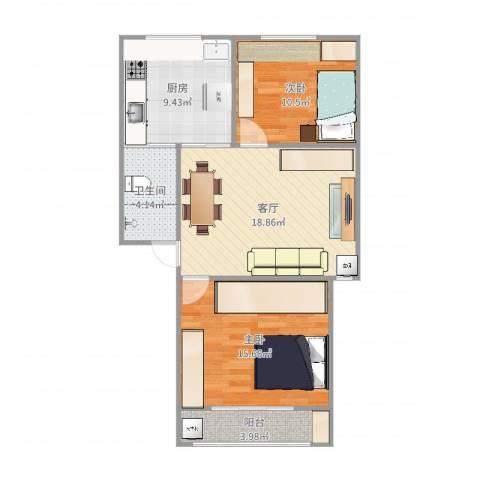 康盛花园2室1厅1卫1厨78.00㎡户型图