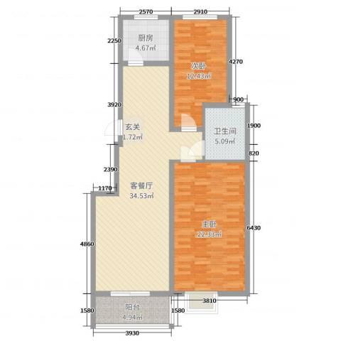 京海铭筑2室2厅1卫1厨105.00㎡户型图