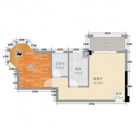 东方・阳光海岸1室2厅1卫1厨62.00㎡户型图