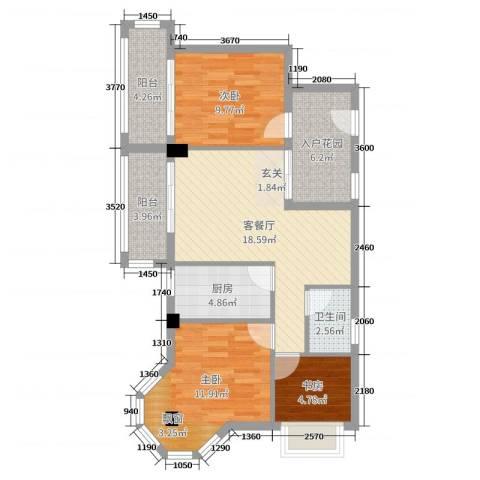 东方・阳光海岸3室2厅1卫1厨83.00㎡户型图