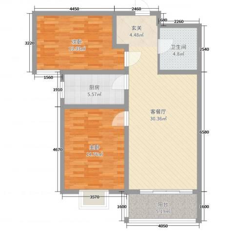 京海铭筑2室2厅1卫1厨93.00㎡户型图