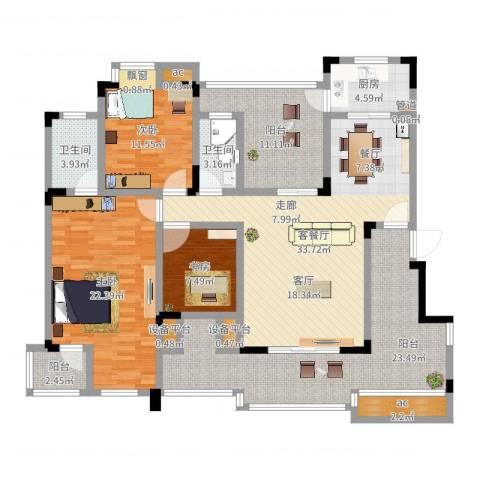 中铁山水天下3室2厅2卫1厨159.00㎡户型图