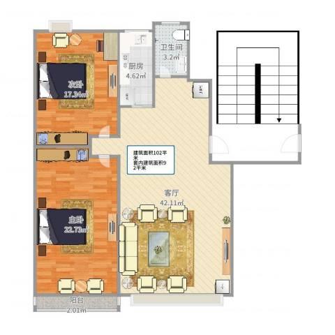 周庄新园2室1厅1卫1厨115.00㎡户型图
