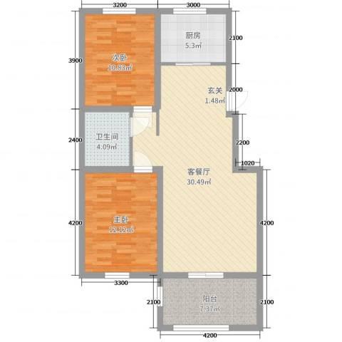 泰安盛世2室2厅1卫1厨90.00㎡户型图