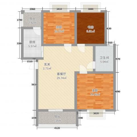 香山听语二期3室2厅1卫1厨104.00㎡户型图