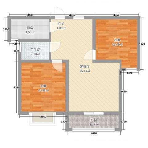 香山听语二期2室2厅1卫1厨76.00㎡户型图