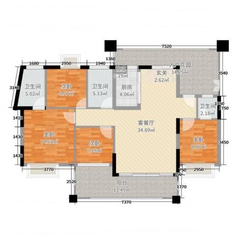 星河湾畔4室2厅3卫1厨148.00㎡户型图