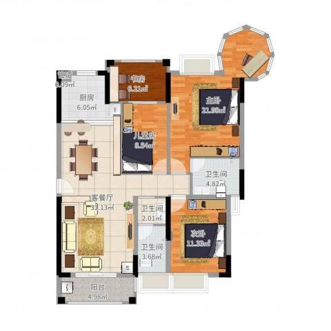 山水芳邻4室2厅3卫1厨126.00㎡户型图