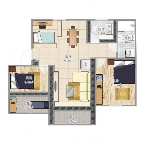 畅苑一区1幢405室2室1厅1卫1厨98.00㎡户型图