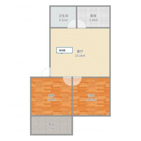 化纤南苑2室1厅1卫1厨77.00㎡户型图
