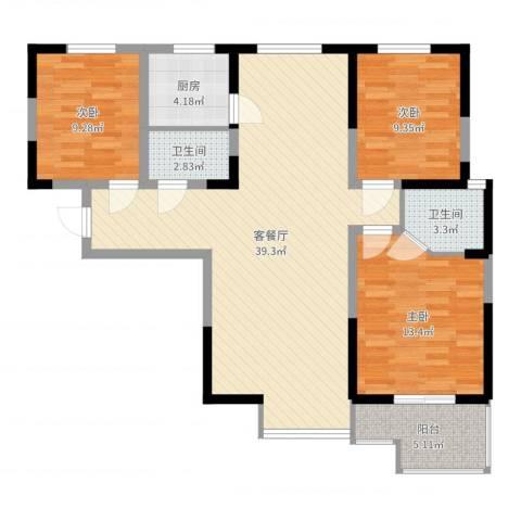 融侨城3室2厅2卫1厨108.00㎡户型图