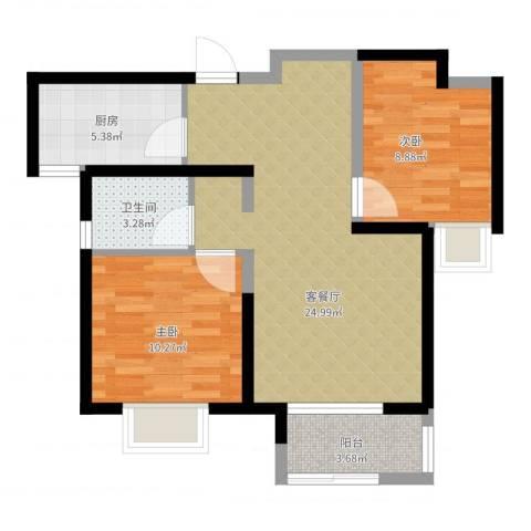 中铁滨湖名邸2室2厅1卫1厨82.00㎡户型图