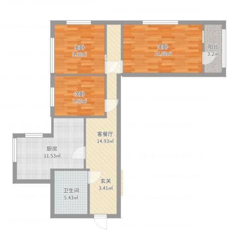 太平桥小区3室2厅1卫1厨83.00㎡户型图