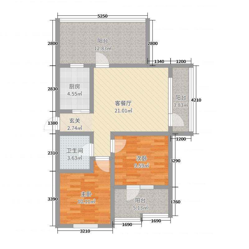 富海茗乔67.19㎡E1-g6#顶层户型2室2厅1卫1厨
