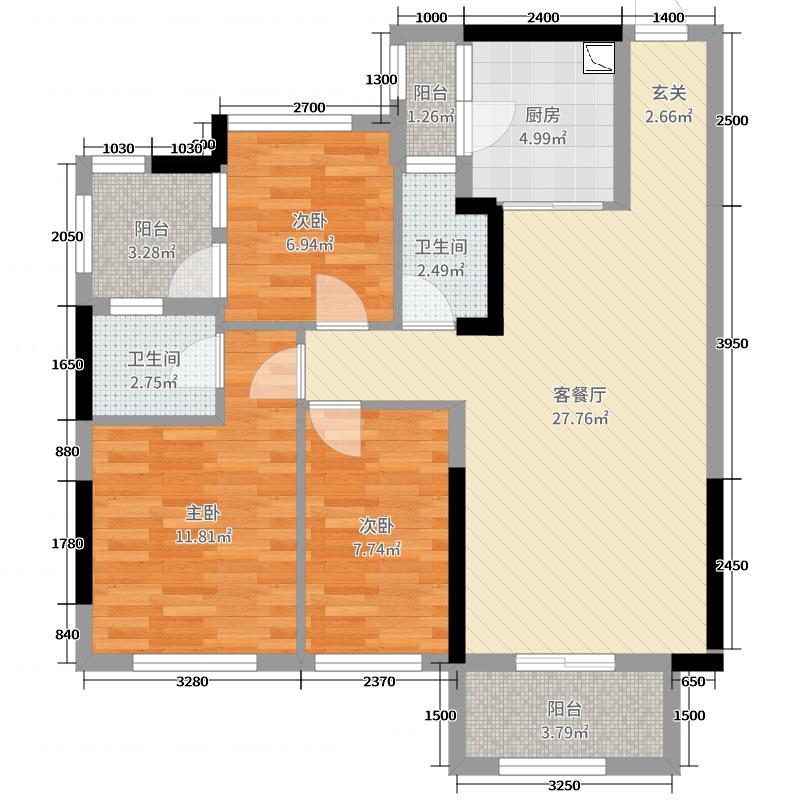 财富精英嘉园91.00㎡1栋03单位户型3室3厅2卫1厨