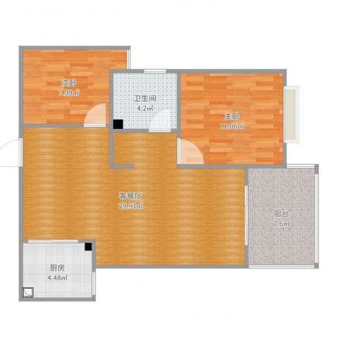 高速云水湾2室2厅1卫1厨82.00㎡户型图