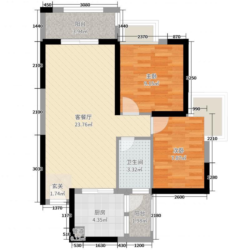 丽水蓝天83.00㎡4梯04户型2室2厅1卫1厨