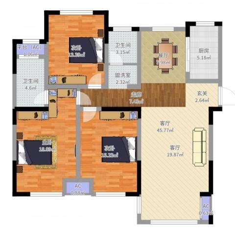 嘉乐城3室1厅5卫1厨135.00㎡户型图