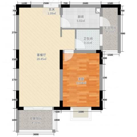 兰庭国际公馆1室2厅1卫1厨70.00㎡户型图
