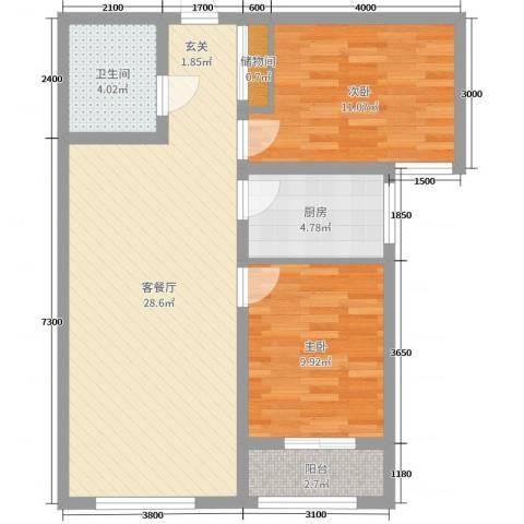 泰安盛世2室2厅1卫1厨89.00㎡户型图