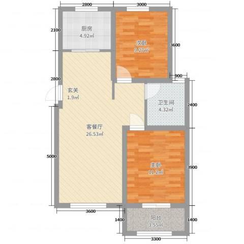 泰安盛世2室2厅1卫1厨85.00㎡户型图