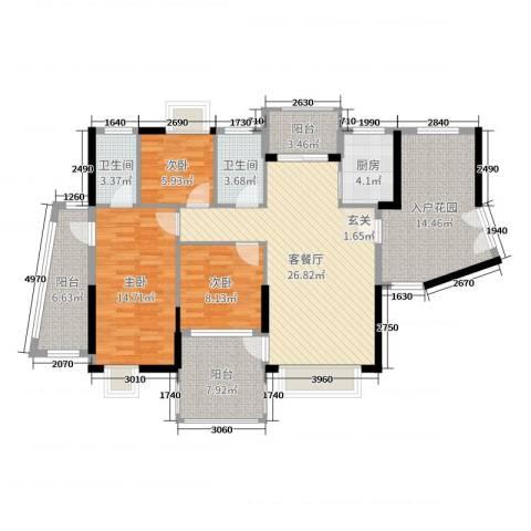 星河湾畔3室2厅2卫1厨124.00㎡户型图