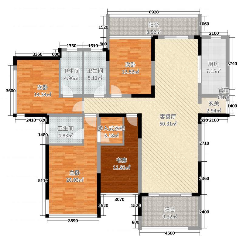 恩瑞御西湖189.20㎡C1户型4室4厅3卫1厨