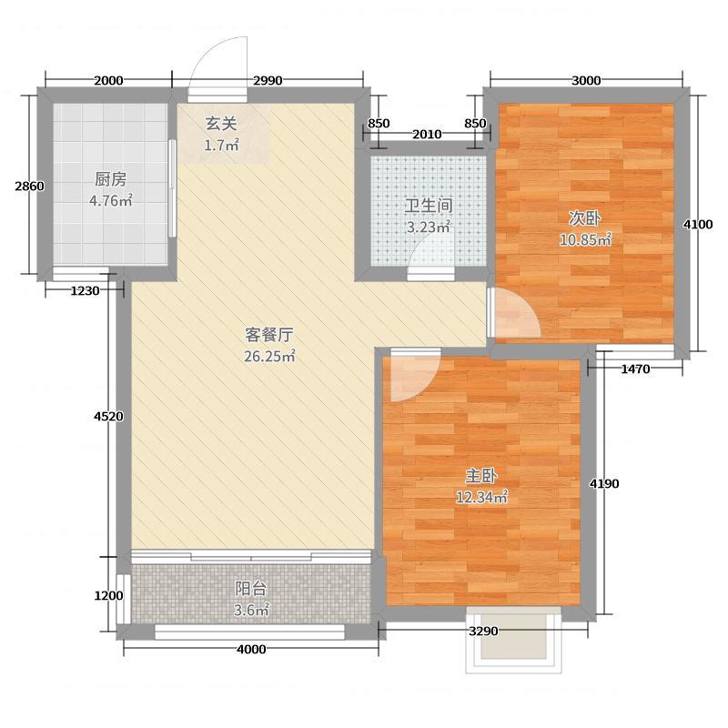 红宝锦秀河畔95.88㎡4号楼、9号楼D1户型2室2厅1卫1厨