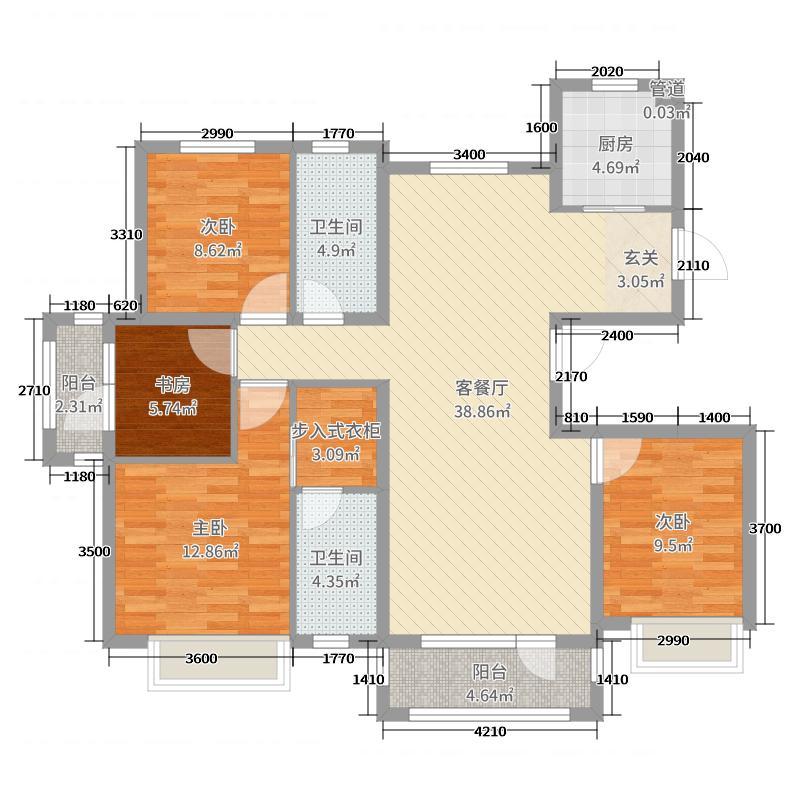 海信绍兴路66号143.00㎡A户型4室4厅2卫1厨