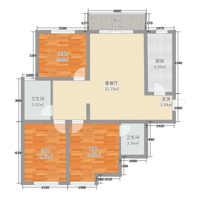 书芳苑小区120.34㎡G23居户型3室3厅2卫1厨