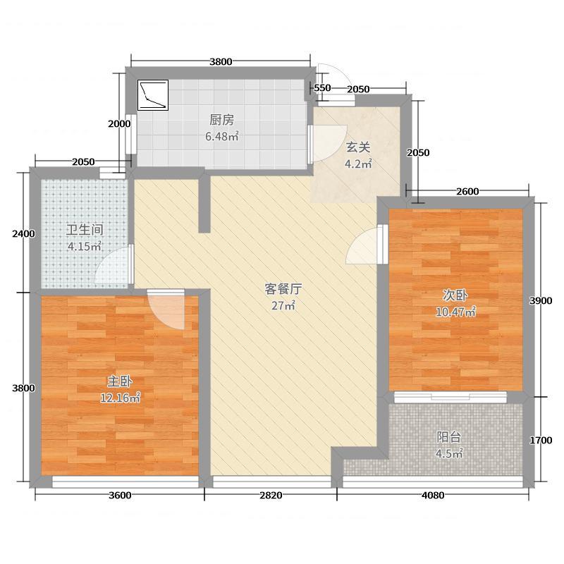 绿城西子田园牧歌86.00㎡D户型2室2厅1卫1厨